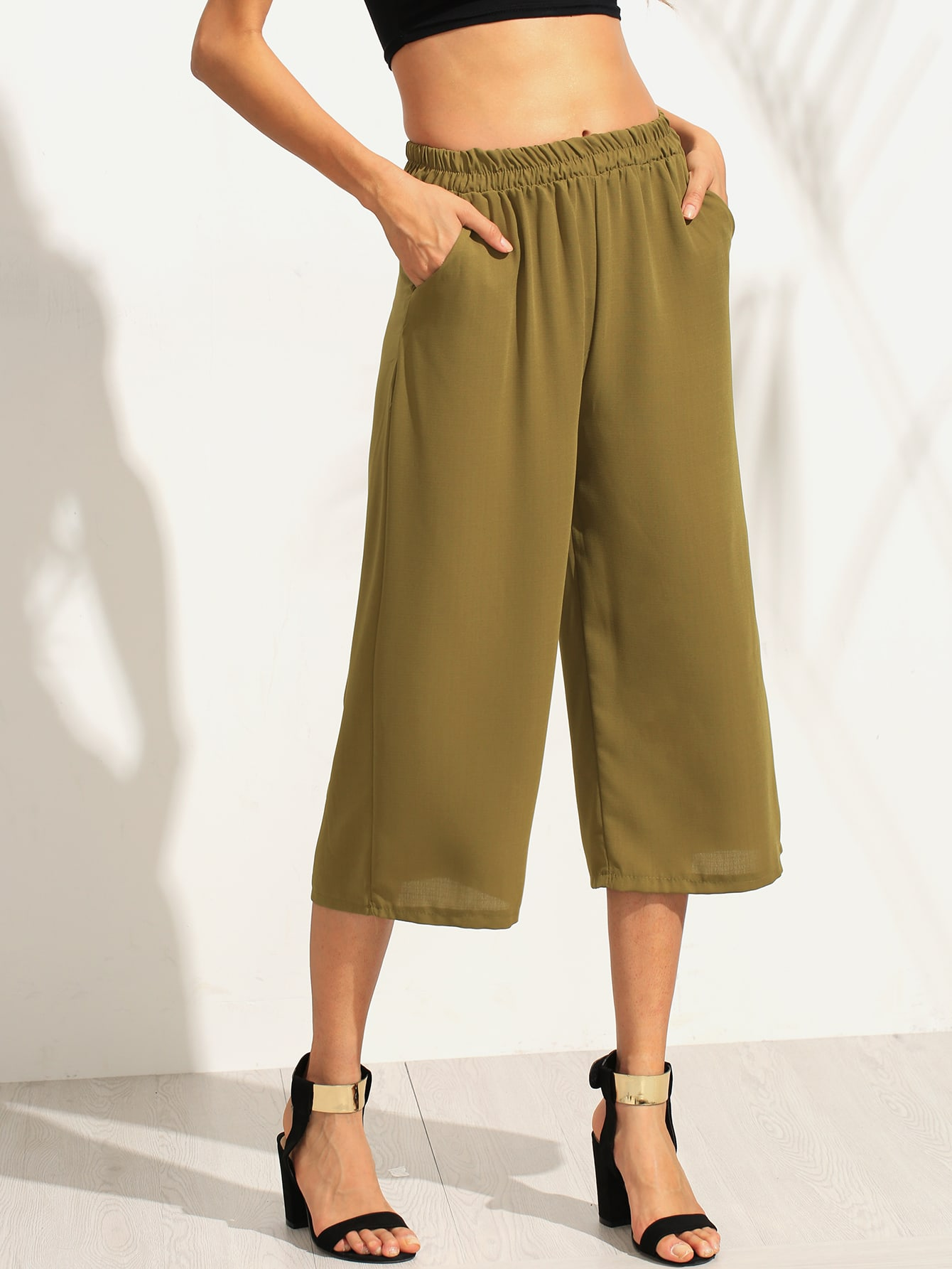 Army Green Elastic Waist Wide Leg Pants