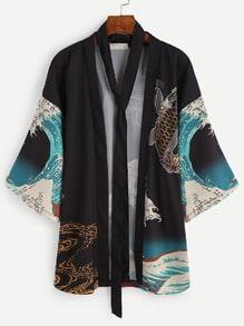 Kimono oleaje y carpa con cinturón