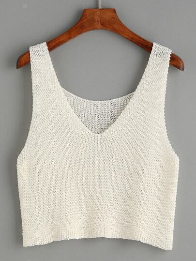 White V Neck Knit Top