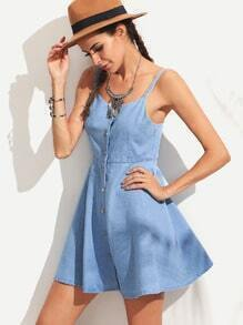 Blue Spaghetti Strap Single Breasted A-Line Denim Dress