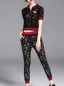 Black Zipper Lace Top With Pockets Pants