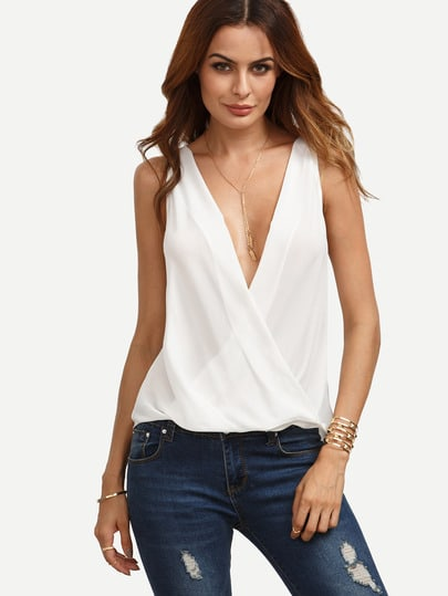Deep-plunge Neck Surplice Blouse