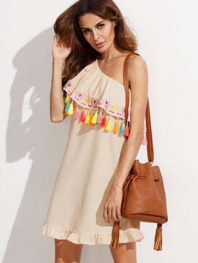 Apricot Embroidered Tassel One Shoulder Dress
