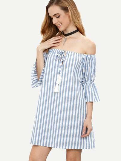 Blue Striped Tassel Tie Front Off The Shoulder Dress