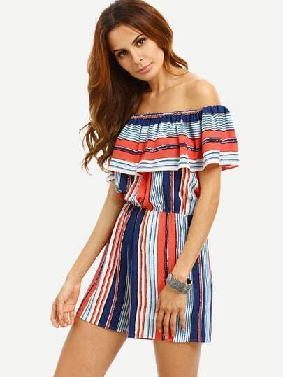 Multicolor Striped Off The Shoulder Ruffle Jumpsuit