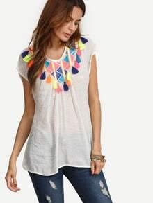 White Embroidered Tassel Cap Sleeve T-shirt