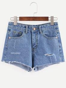 Shorts rotos denim -azul