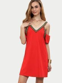 Red Cold Shoulder Embellished Neck Backless Shift Dress