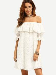 White Ruffle Off The Shoulder Shift Dress