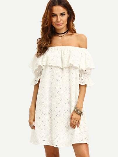 Frill Off Shoulder Crinkle Swing Dress
