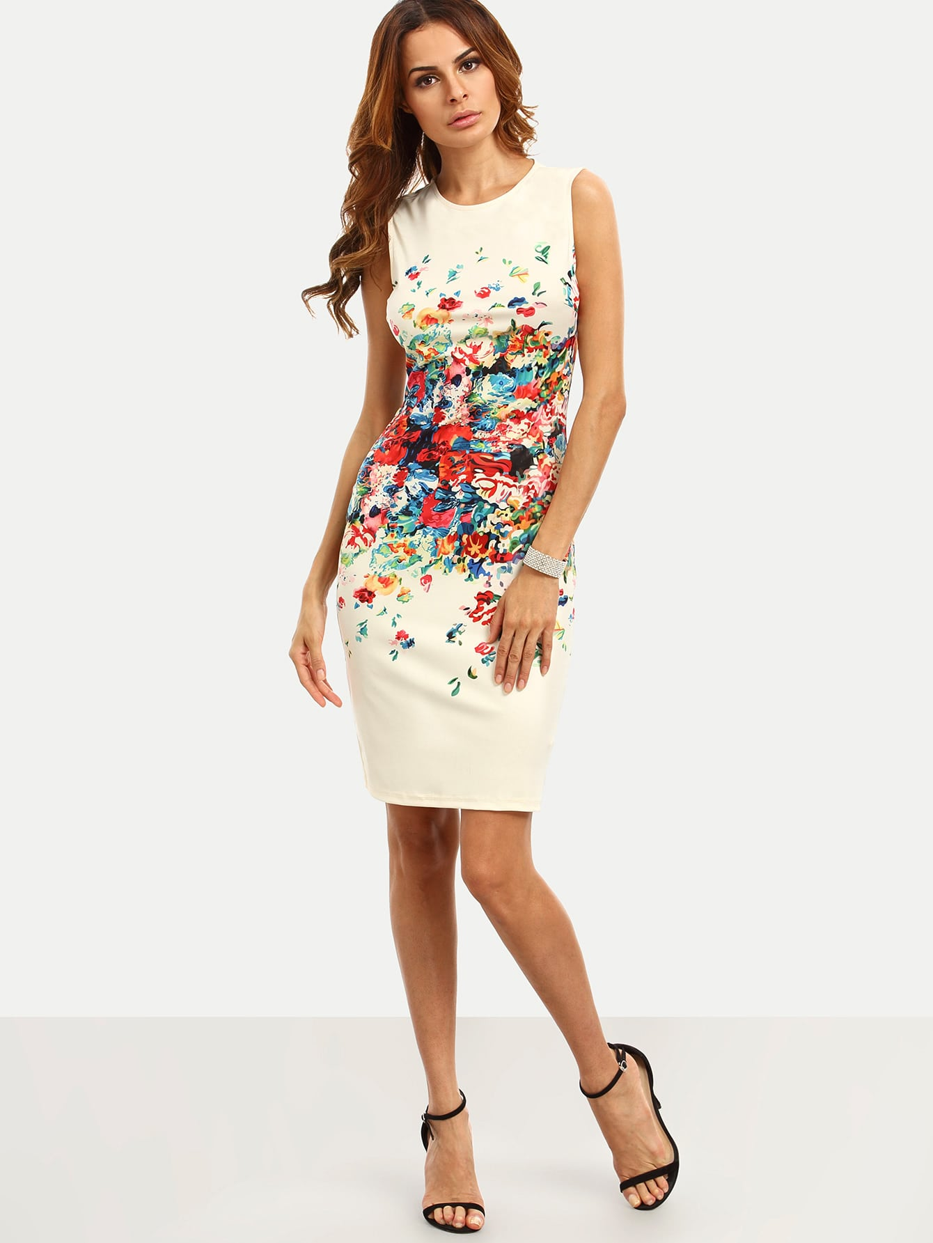 Colorful Calico Print Fitted Dress цена
