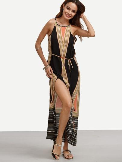 Multicolor Print Spaghetti Strap Tie Waist Split Dress