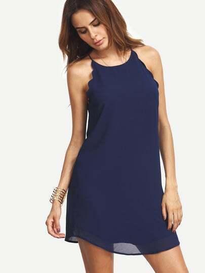 Navy Scallop Trim Sleeveless Chiffon Dress