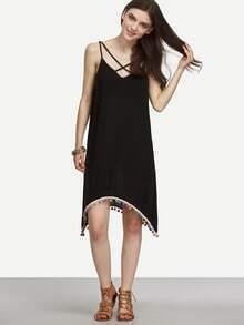 Black Crisscross Sleeveless Asymmetrical Pom-pom Hem Dress