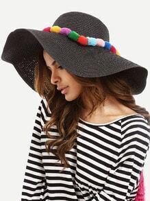 Black Vacation Pom-pom Large Brimmed Straw Hat