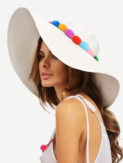 White Vacation Pom-pom Large Brimmed Straw Hat