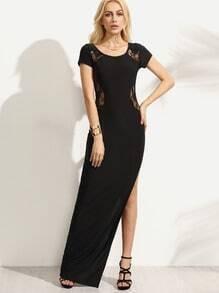 Black Lace Insert Side Slit Dress