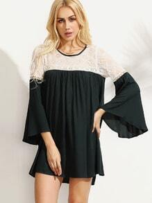 Green Contrast Embroidered Mesh Insert Bell Sleeve Dress