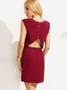 Burgundy Eyelet Trim Cutout Dress