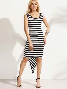Black White Mixed Stripe Asymmetric Dress
