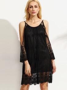 Black Cold Shoulder Embroidered Mesh Dress