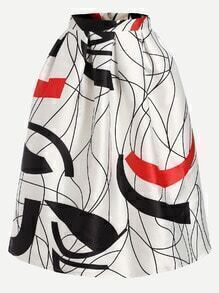 White Abstract Print Box Pleated Volume Skirt