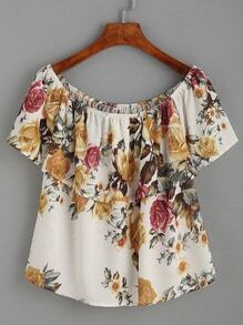 Beige Flower Print Ruffled Off The Shoulder Top