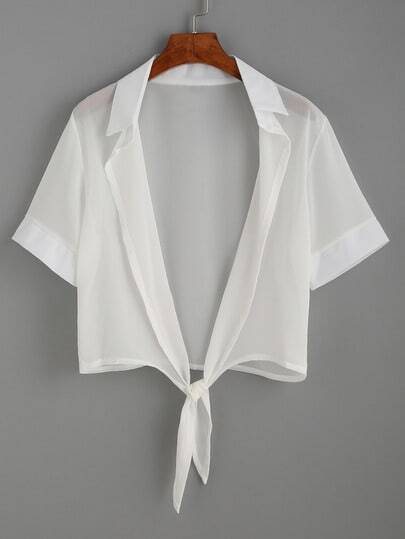 White Lapel Short Sleeve Knotted Blouse