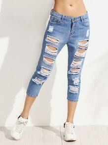 Blue Ripped 3/4 Length Jeans