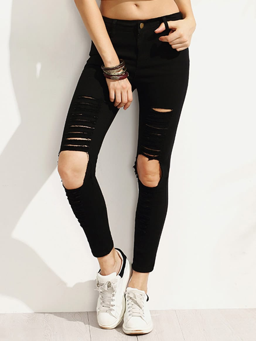 Distressed Skinny Ankle Jeans embroidered distressed skinny jeans