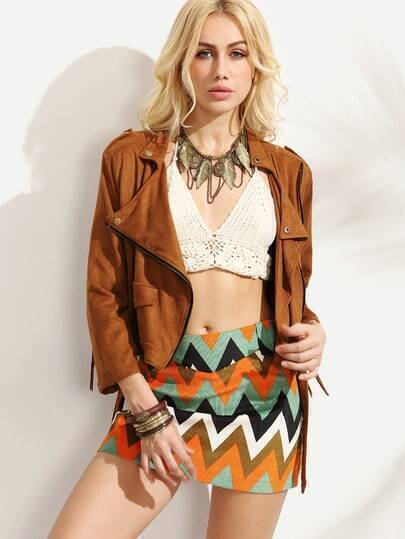 Brown Faux Suede Fringe Back Moto Jacket
