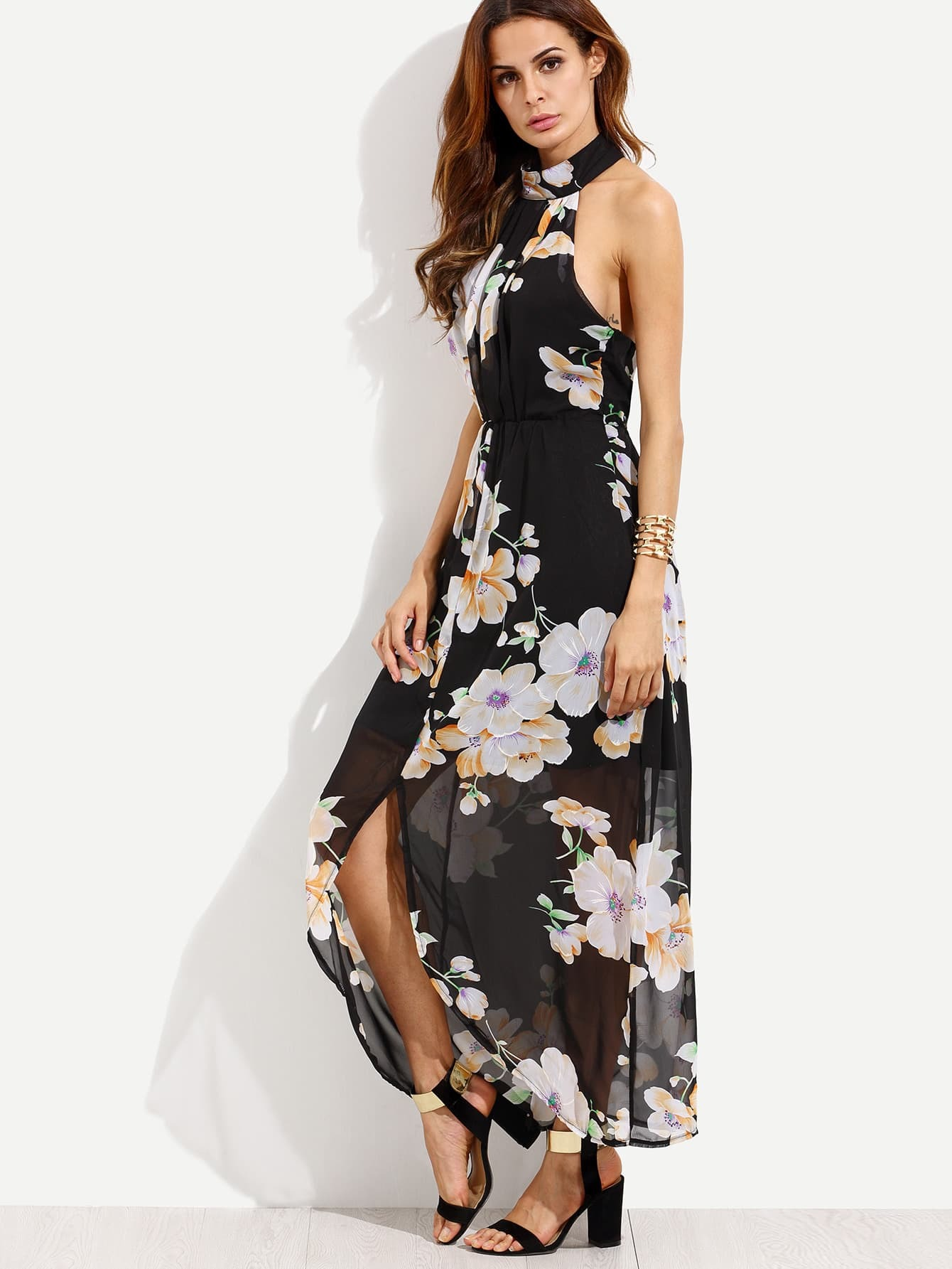 Black Flower Print Halter Neck Slit Chiffon DressBlack Flower Print Halter Neck Slit Chiffon Dress<br><br>color: Black<br>size: L,M,S,XL