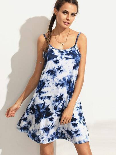 Blue Tie Dye Print Scoop Back Swing Cami Dress