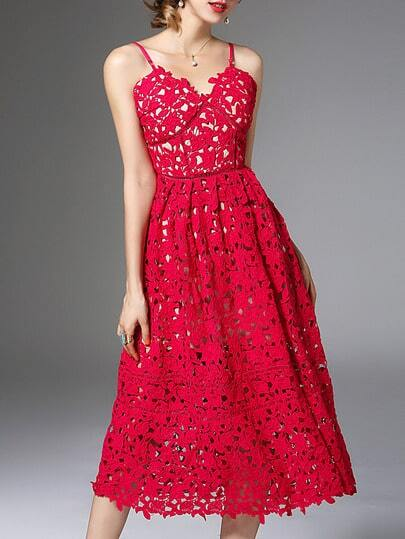 Red Backless Crochet Hollow Out Dress