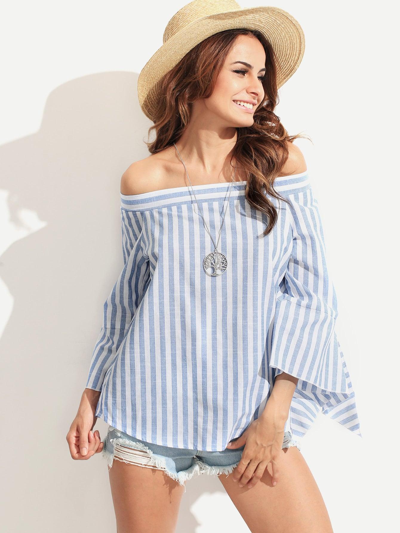 Фото Striped Split Sleeve Bardot Blouse. Купить с доставкой