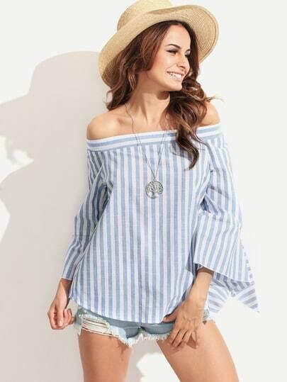 schulterfreie Bluse mit Streifen - blau