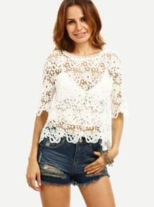 White Crochet Half Sleeve Blouse
