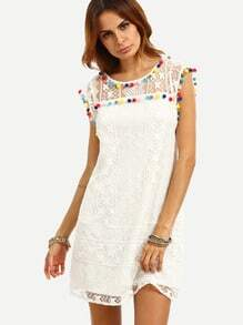White Cap Sleeve Pom-pom Trim Shift Dress
