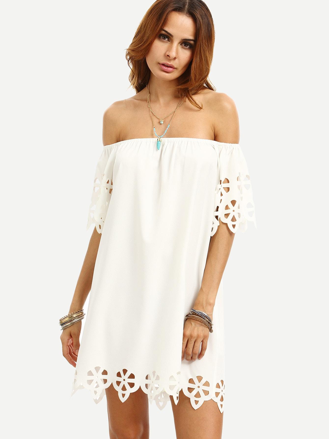 Scallop Hollow Out Hem Bardot Dress bardot neckline scallop hem dress