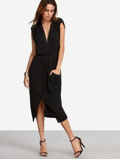 Black Pocket V Neck Cap Sleeve Split Dress