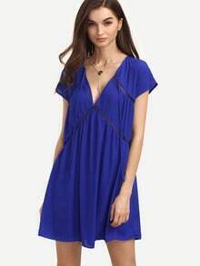 Royal Blue Hollow V Neck Cap Sleeve Dress