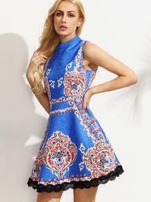 Multicolor Print High Neck Lace Hem Dress
