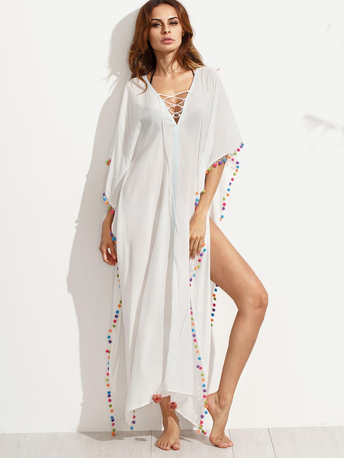 Lace-up V-cut Pom-pom Trim Split Beach Dress colorful pom pom trim slub tee