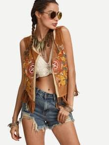 Multicolor Embroidered Fringe Hem Sleeveless Cardigan Outerwear