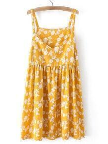 Ginger V Neck Floral Printed Pleated Dress