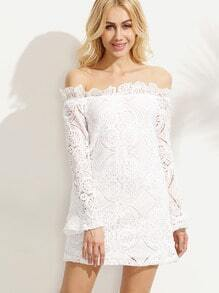 Crochet Lace Off The Shoulder White Ruffle Dress