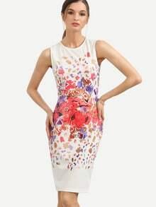 Multicolor Print Sleeveless Split Sheath Dress