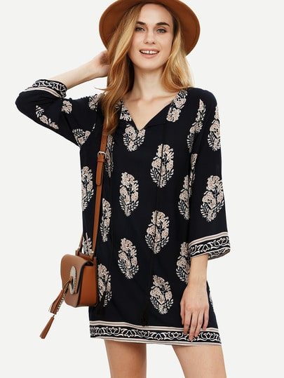 Multicolor Vintage Print V Neck Shift Dress