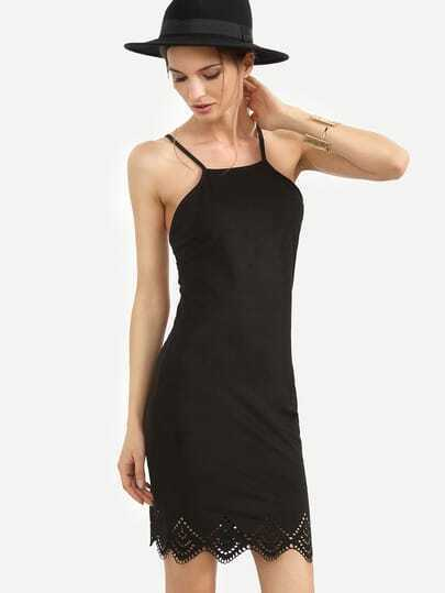 Black Tie Crisscross Back Sleeveless Scallop Hem Dress