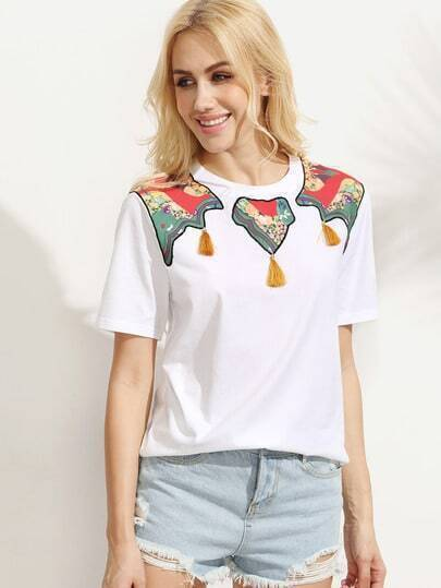 White Embroidered Tassel Print Short Sleeve T-shirt